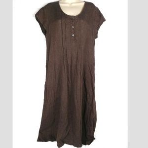 FLAX Linen Dress Brown Small Short Sleeve Pockets